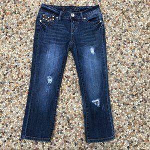 Grace in LA Skinny Capri Jeans Distressed w/ Bling